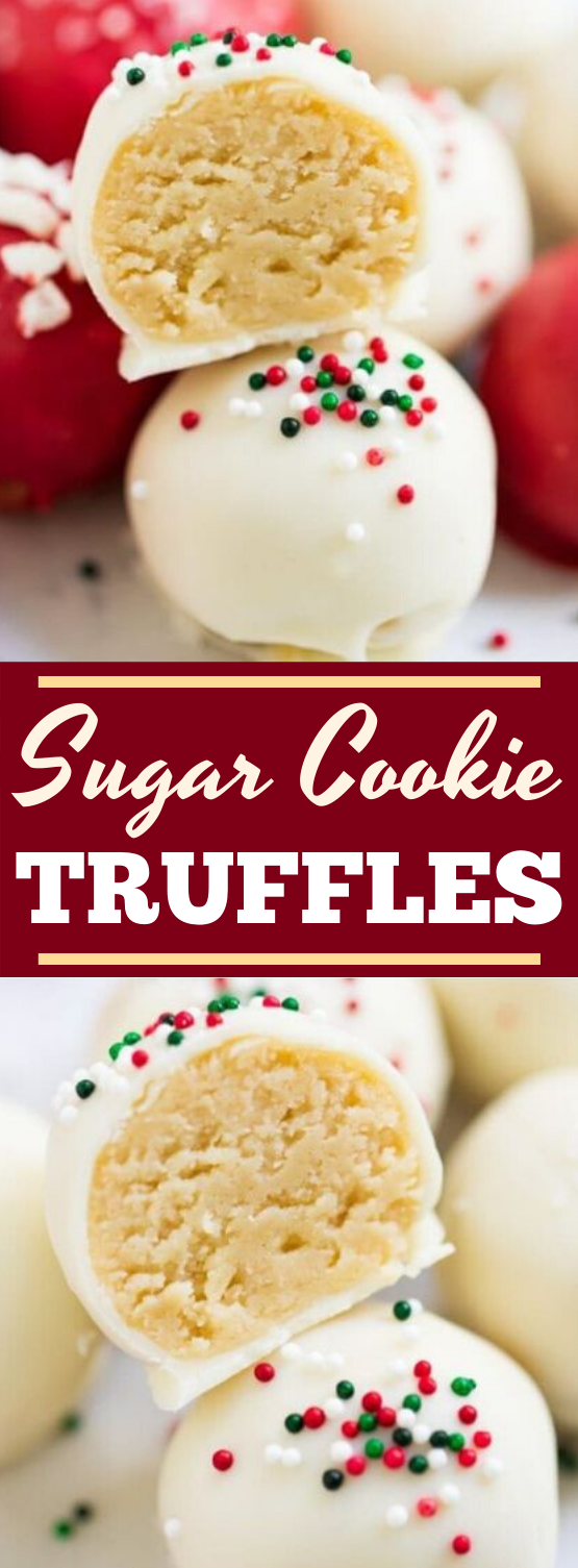 4-Ingredient Sugar Cookie Truffles (No-Bake!) #desserts #nobake #christmas #recipes #gift