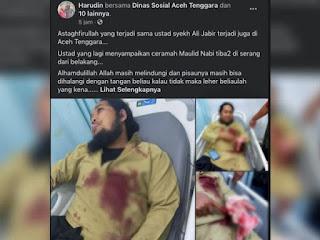 Di Aceh Ustadz Ditusuk Saat Ceramah Maulid Nabi, Pelaku Ditangkap