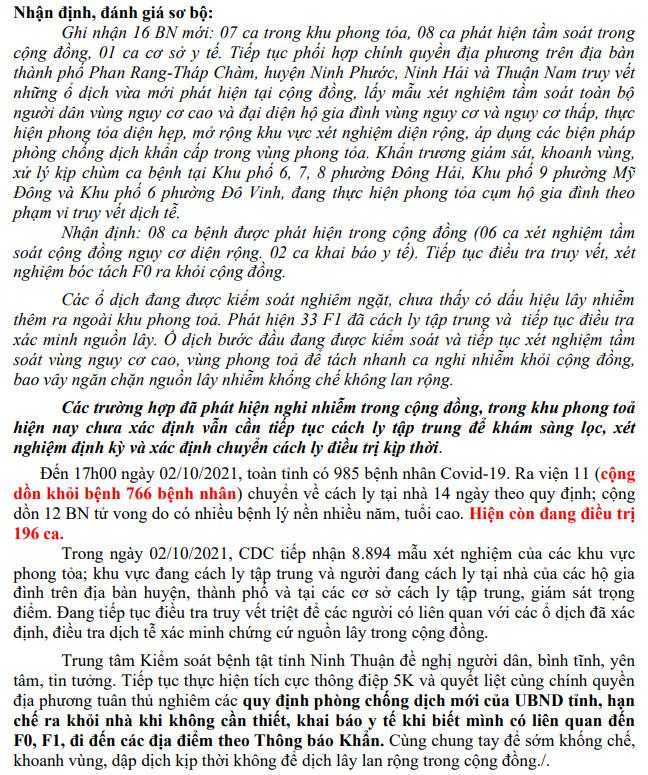 Ngày 02-10, Ninh Thuận ghi nhận 16 ca mắc Covid-19 mới