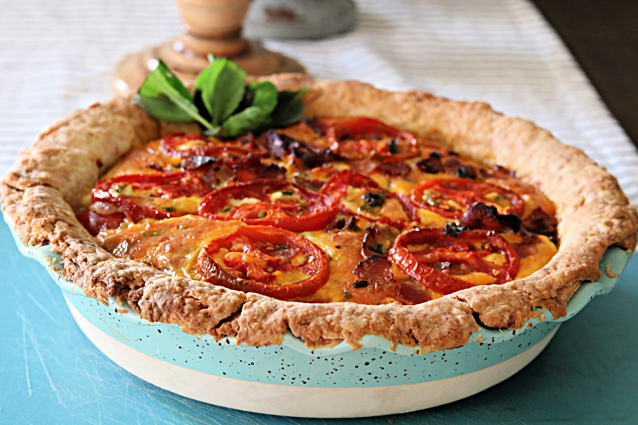 Tomato pie with parmesan cheese pie crust