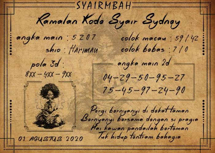 Kode syair Sydney Sabtu 1 Agustus 2020 144