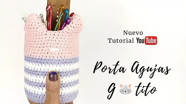 Tutorial Porta Agujas Gatito a Crochet