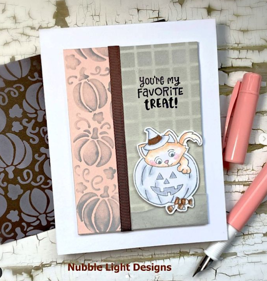You're my favorite treat by Priscilla features Trick or Treat Kittens and Pumpkin Patch by Newton's Nook Designs; #inkypaws, #newtonsnook, #halloweencard, #catcards, #cardmaking