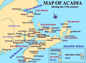 Map of Acadia in the 17th century