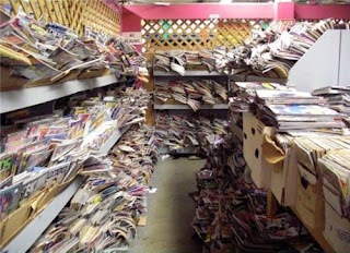 Photo of comics overflowing throughout a room