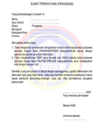 Surat Pernyataan bagi Pengawas PAI
