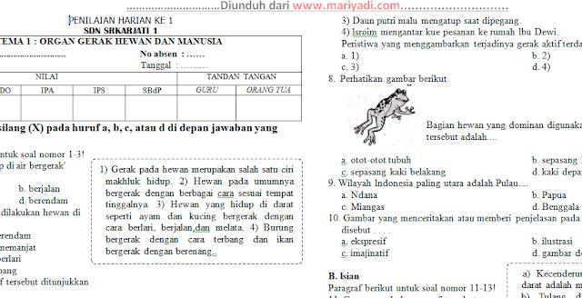 Soal Ulangan Harian Kelas 5 Tema 1 Paket 2