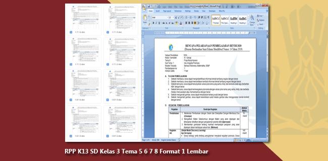 RPP K13 SD Kelas 3 Semester 2 Tema 5 6 7 8 Format 1 Lembar