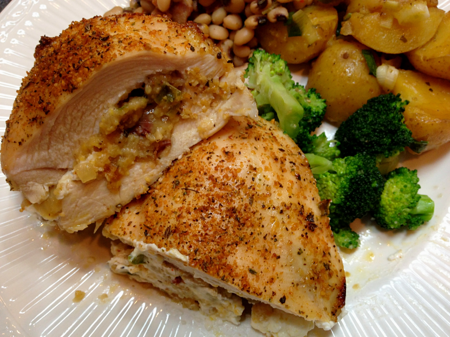 roasted chicken breast stuffed with southern dressing