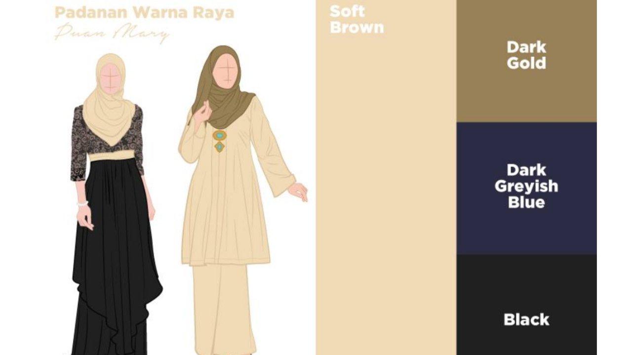 Tips Pilih Warna Tudung dan Baju Raya 2020