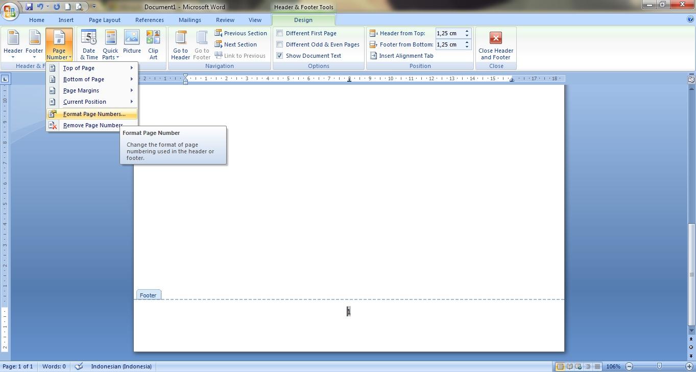 Cara Membuat Penomoran Halaman Berbeda di Word 2007