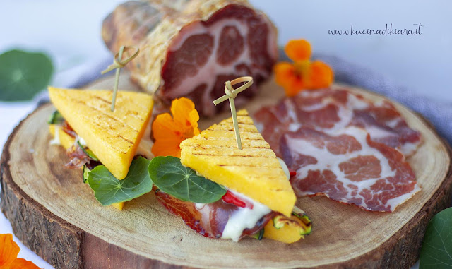 Sandwich di polenta con verdure e Coppa Piacentina Dop