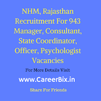 NHM, Rajasthan Recruitment For 943 Manager, Consultant, State Coordinator, Officer, Psychologist Vacancies