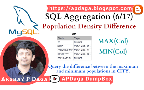 HackerRank: [SQL Aggregation - 6/17] Population Density Difference | MAX, MIN Function in SQL