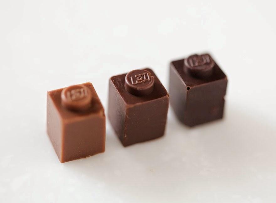 LEGO yang boleh dimakan diperbuat daripada coklat pelbagai warna