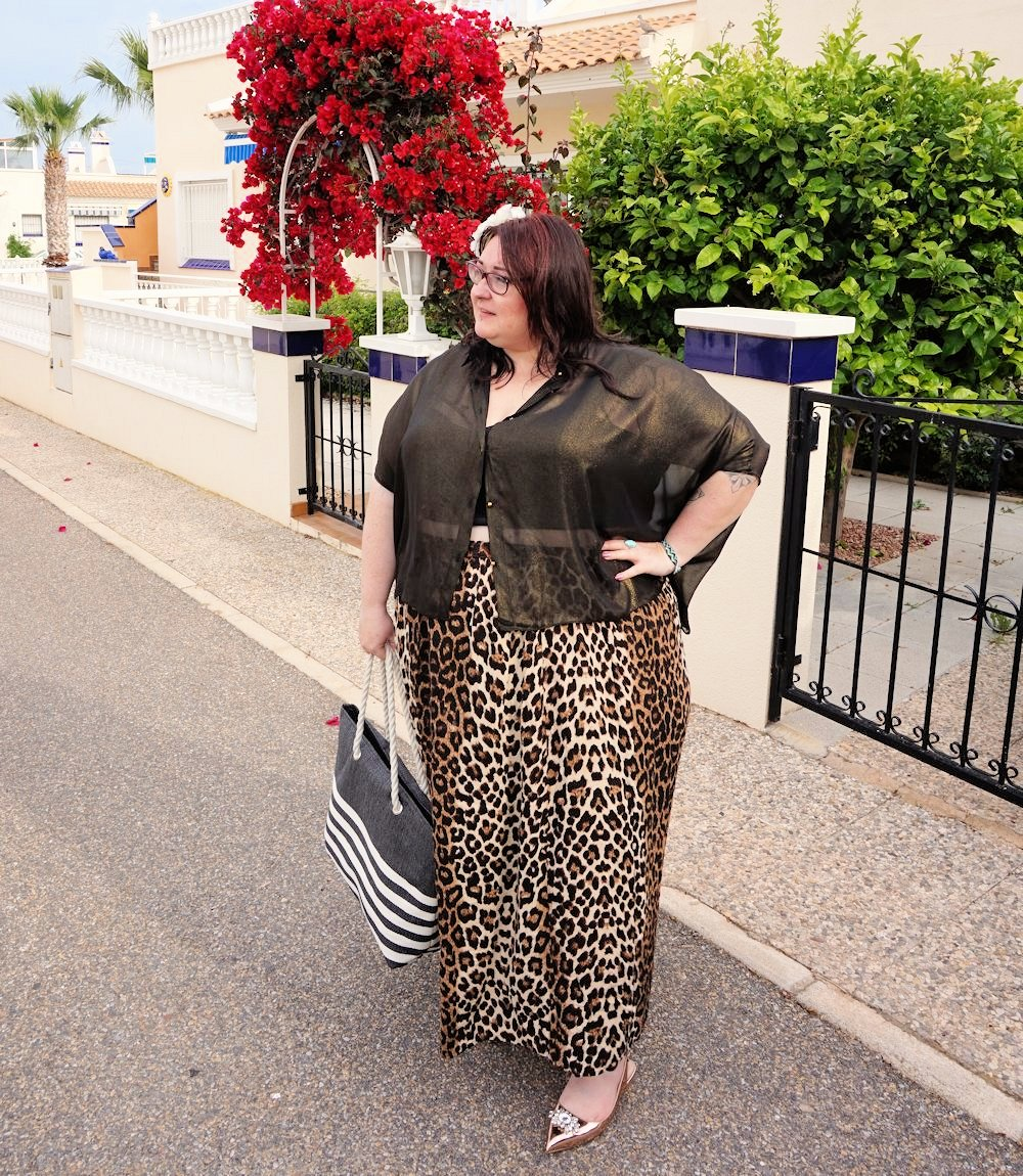 Leopard print skirt and sheer gold shirt plus size outfit featuring Elvi plus size occasionwear plus size evening wear glamorous