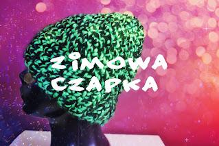 Czarno-zielona szydełkowa czapka zimowa