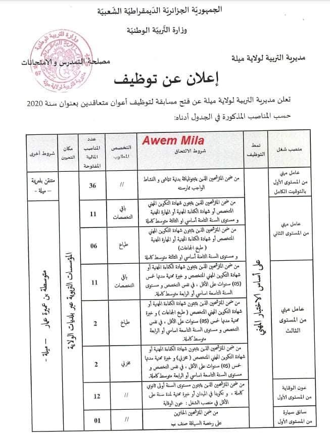 اعلان توظيف بمديرية التربية لولاية ميلة 07 جانفي 2021