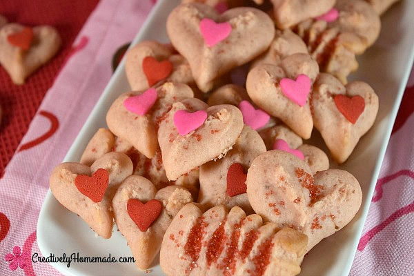 Strawberry Valentine Spritz Cookies from Creatively Homemade