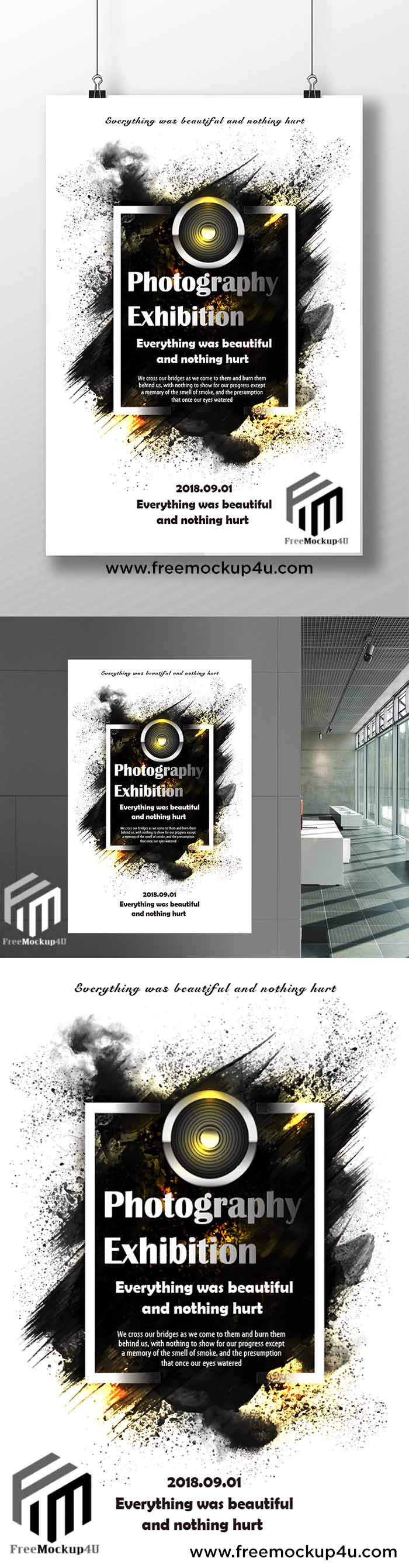 Creative Concise Art Photography Work Exhibition Poster Templates AI