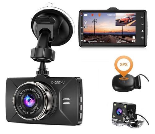 CHORTAU B-T25 Full HD Dual Dash Cam GPS for Cars
