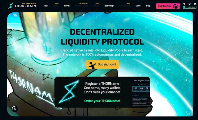 Screenshot Website THORChain (RUNE) Cryptocurrency