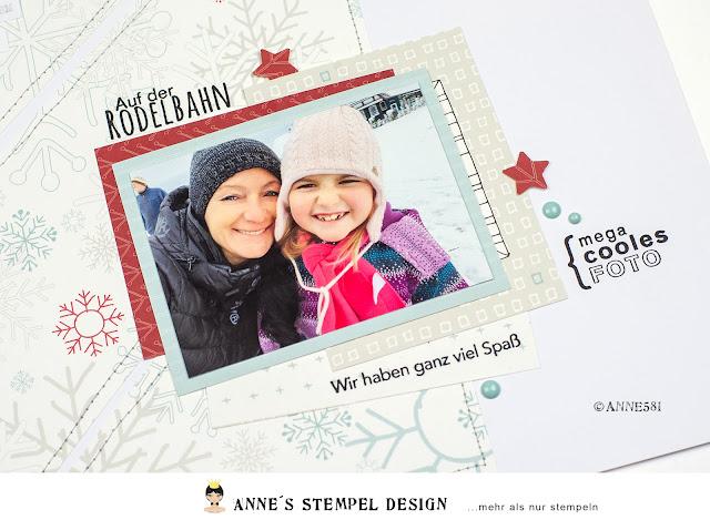 Zusätzlich zum Text der das erlebte auf dem Scrapbookinglayout beschreibt wurde das geschehen auf dem Layout mit Textstempeln von Annes Stempel-Design ergänzt.