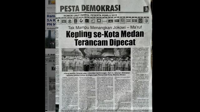 Kepling di Medan Diwajibkan Kumpulkan 120 Suara untuk Jokowi-Ma'ruf Amin