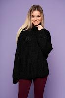 Pulover SunShine negru cu croi larg din material tricotat cu maneci lungi • SunShine