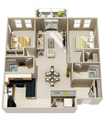 Lawn included in two bedroom 3d floor plans