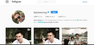 Akun Instagram Baim wong