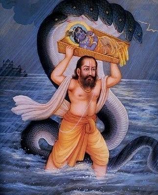Vasudeva Carrying Baby Krishna in River Yamuna- Krishan Janmashtmi