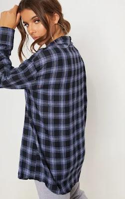 US Blue Check Oversized Shirt