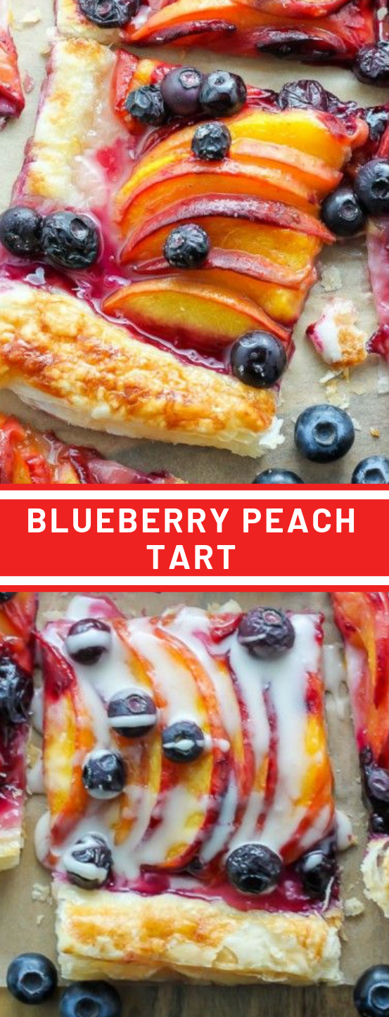 Easy Blueberry Peach Tart with Vanilla Glaze #blueberry #cookies #brownies #dessert #cakes