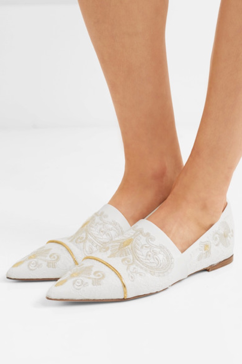 Etro Lace-Paneled Embroidered Leather Point-Toe Flats