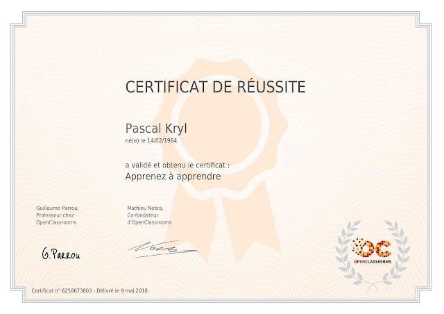 """certification openclassrooms """"Apprenez à apprendre"""""""