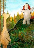 Postcard illustration of Hulmu and Haukku dog in forest