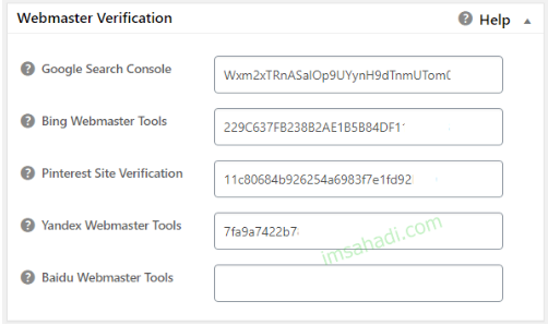 all in one seo pack webmaster verification