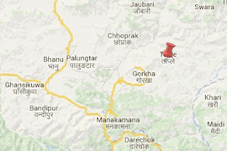Earthquake epicenter map of Gorkha district