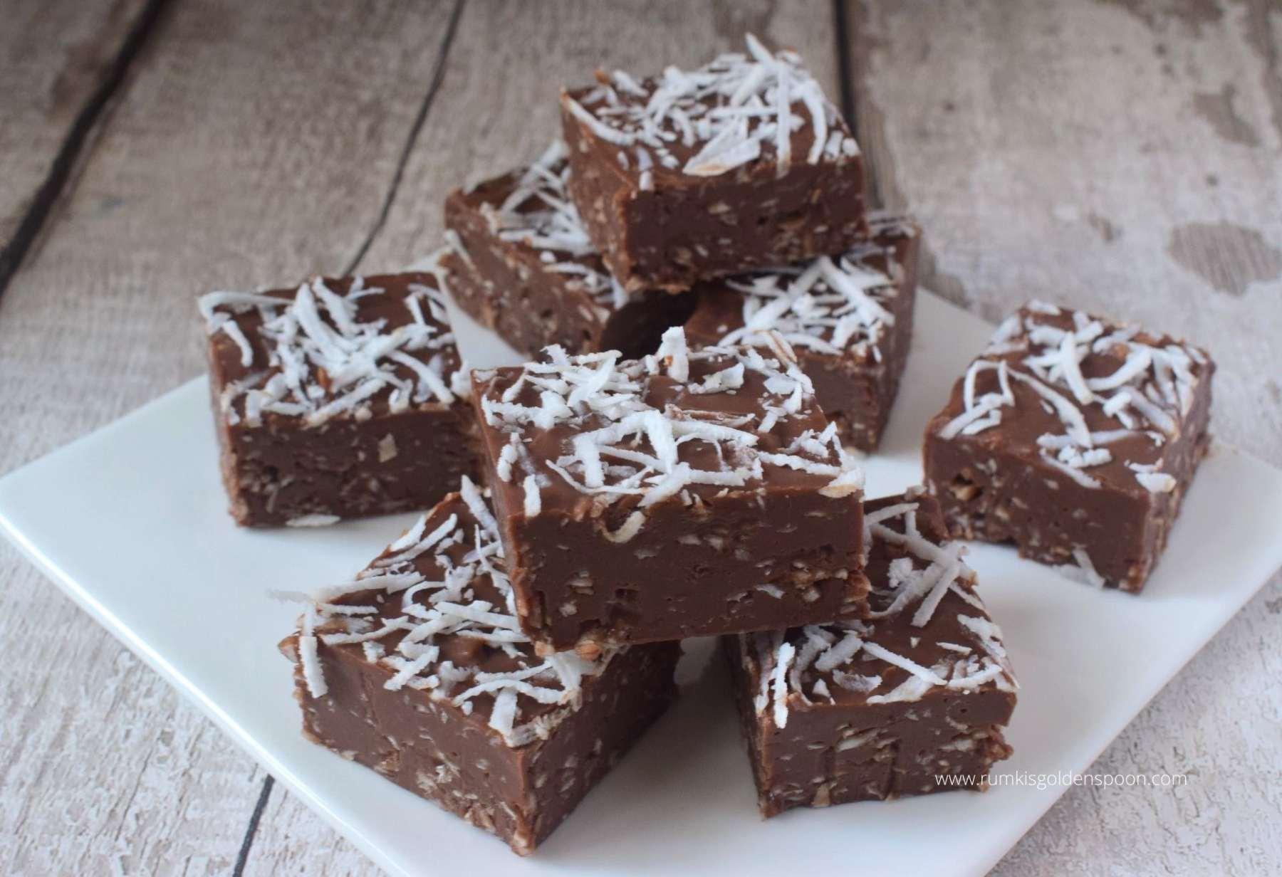 Chocolate Coconut Fudge Recipe Coconut Condensed Milk Fudge Fudge Recipe For Christmas Rumki S Golden Spoon