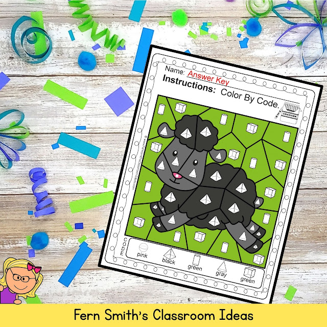 Baa Baa Black Sheep Color By Code Remediation of 3-D Shapes FREEBIE by #FernSmithsClassroomIdeas
