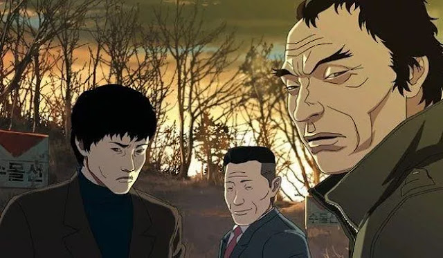 korean anime the fake with the main character and other korean old men looking creepy with dry burnt forest background