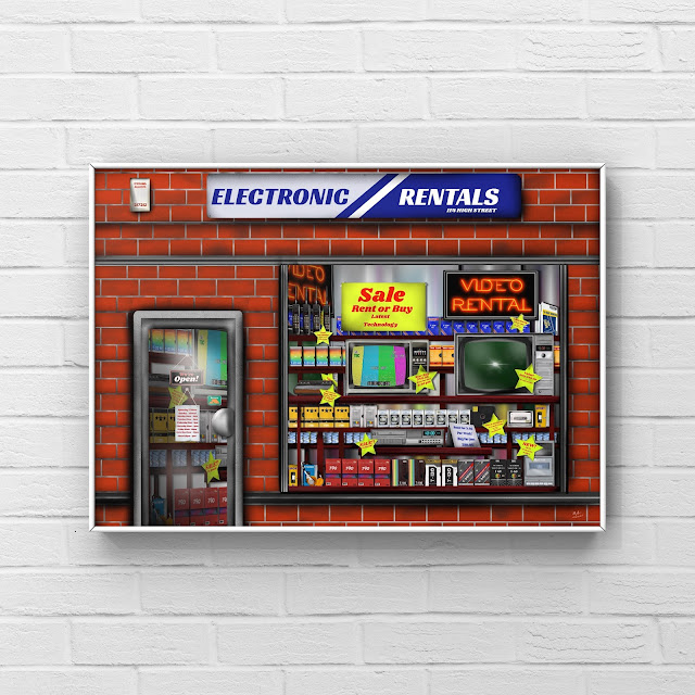 Eighties TV shop front art by Mark Taylor