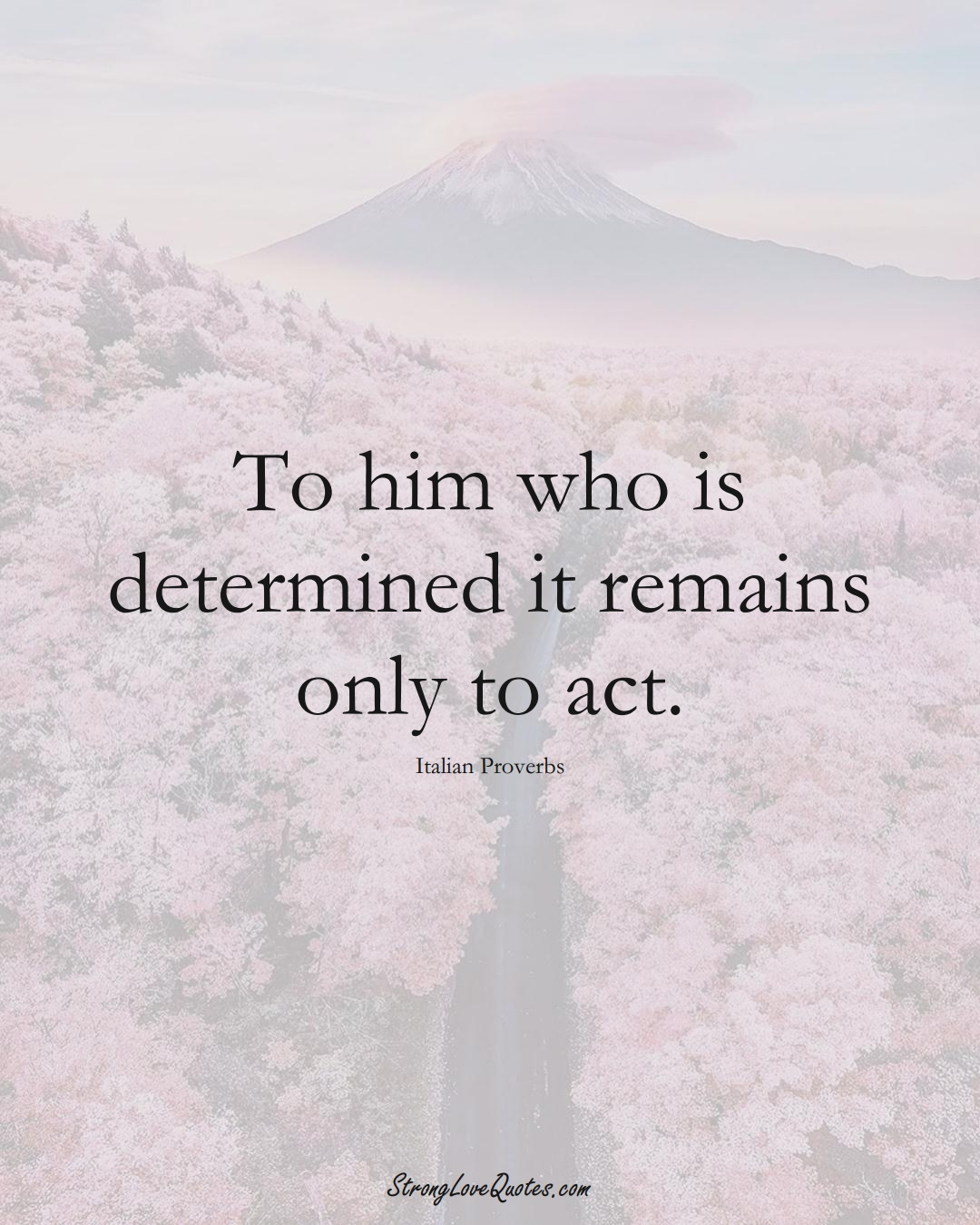 To him who is determined it remains only to act. (Italian Sayings);  #EuropeanSayings