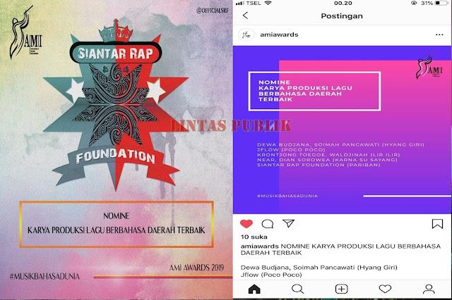 Siantar Rap Foundation Masuk Nominasi AMI AWARDS 2019
