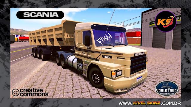 SCANIA T113 - BEGE COM FAIXAS ESCURAS