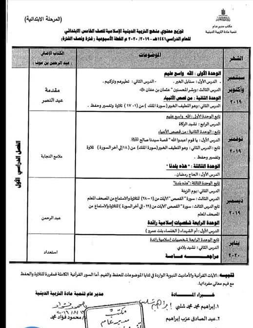 توزيع مناهج التربية الدينية الاسلامية لكل الصفوف و المراحل (ابتدائي - اعدادي - ثانوي) للعام الدراسي 2019 / 2020 7