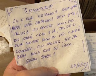 Bilhete de amor escrito em guardanapo