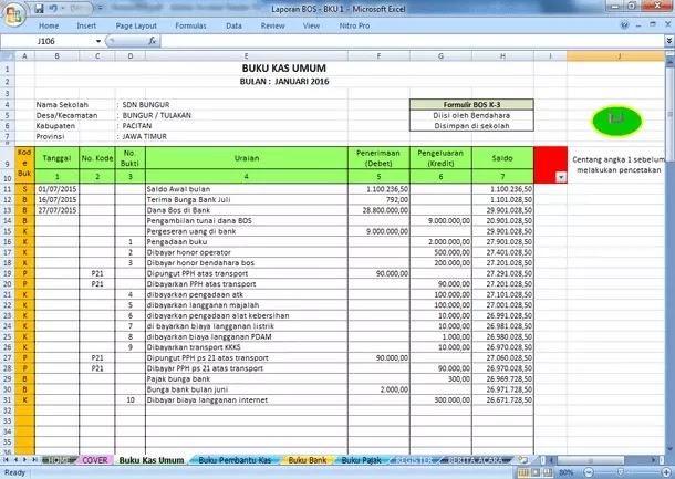 Contoh Berkas Pembukuan BOS (Bantuan Operasional Sekolah)