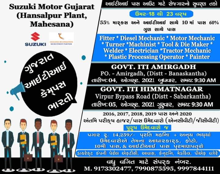 Suzuki Motors Gujarat Job Openings for ITI Passout || Campus Interview at 4th August At Govt ITI Amirgadh  & 5th August At  Govt ITI Himmatnagar, Gujarat